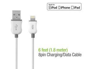 RUIZ by Cellet Apple MFI Certified 6ft. Lightning 8 Pin Charging/Data Sync Cable for iPad, iPhone, iPod - White