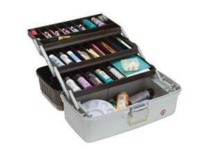 "Creative Options Three-Tray Art Box 18""X10""X9.75""-2 Top Compartments&#59; Blk Sparkle/Platinum"