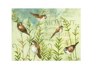 "Birds On Ferns Stamped Cross Stitch Kit-12""X9"""