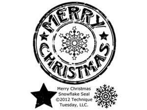 "Technique Tuesday Clear Stamps 2""X2.5""-Merry Christmas Snowflake Seal"