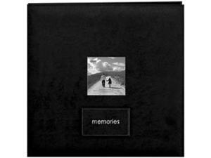 "Embroidered Patch Faux Suede Frame Postbound Album 12""X12""-Black"