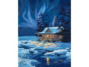 "Paint By Number Kit 16""X20""-Moonlit Cabin"