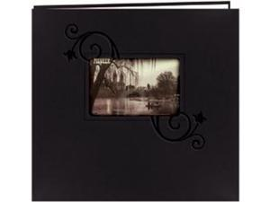 """Embossed Leatherette Postbound Album With Window 12""""X12""""-Black With Floral"""