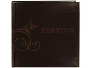 "Embroidered Scroll Leatherette Brown Photo Album 8""X8""-Holds 2-Up 4""X6"" Photos, 200 Capacity"