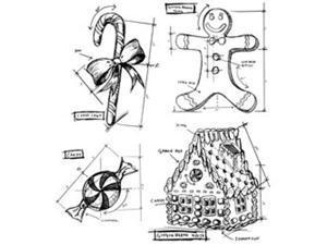 Tim Holtz Cling Rubber Stamp Set-Christmas Blueprints #3