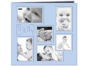 "Collage Frame Sewn Embossed Cover Postbound Album 12""X12""-Blue/Baby"