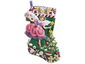 "Sugar Plum Fairy Stocking Felt Applique Kit-18"" Long"