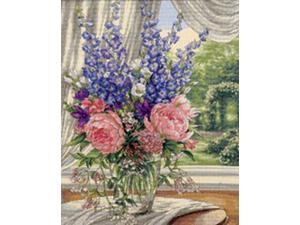 """Gold Collection Peonies/Delphiniums Counted Cross Stitch Kit-12""""X15"""""""