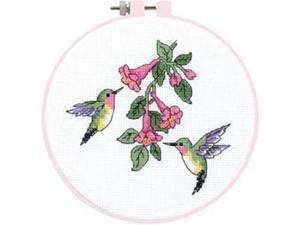 """Learn-A-Craft Hummingbird Duo Counted Cross Stitch Kit-6"""" Round"""