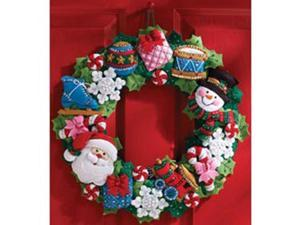 Bucilla 86363 Christmas Toys Wreath Felt Applique Kit-16'' Round