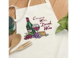 Drink Wine Apron Stamped Cross Stitch-
