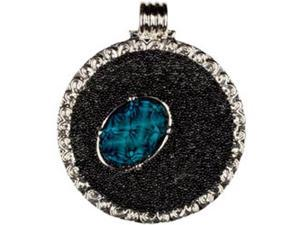 Jewelry Basics Metal Accent 1/Pkg-Silver/Teal Round W/Cab