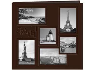 "Collage Frame Sewn Embossed Cover Postbound Album 12""X12""-Brown/Travel"