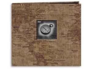 "Travel Postbound Album With Photo Window 12""X12""-World Map"