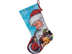 "Santa And Toys Stocking Needlepoint Kit-16"" Long Stitched In Floss"