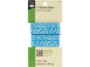 "Fold-Over Elastic 1""X1 Yard-Aqua/White -Zebra"