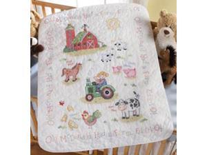 "On The Farm Crib Cover Stamped Cross Stitch Kit-34""X43"""