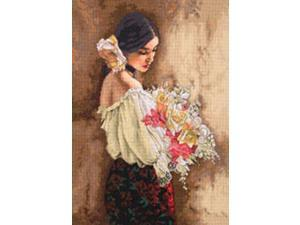 """Gold Collection Woman With Bouquet Counted Cross Stitch Kit-11""""X15"""""""