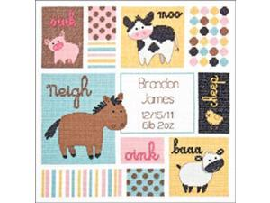 "Baby Hugs Barn Babies Birth Record Counted Cross Stitch Kit-12""X12"""