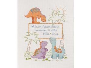 """Cuteasaurus Birth Record Counted Cross Stitch Kit-10""""X13"""" 14 Count"""