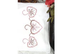 "Stamped Perle Edge Pillowcase 30""X20"" 2/Pkg-Three Hearts"