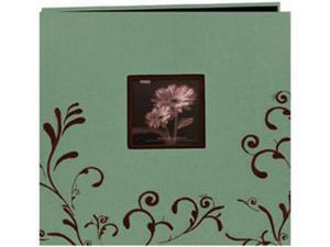 "Scroll Embroidery Fabric Postbound Album With Window 12""X12""-Aqua With Brown"