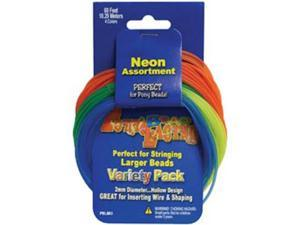 Pony Bead Lacing Variety Pack 60 Feet/Pkg-Neon Colors