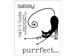 "Technique Tuesday Clear Stamps 2""X2.5""-Sassy Cat"
