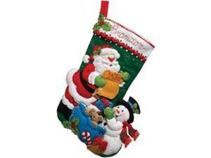 Bucilla 86360 Santa's List Stocking Felt Applique Kit-18'' Long
