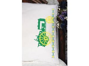 """Stamped Perle Edge Pillowcase 30""""X20"""" 2/Pkg-Green Tractor"""