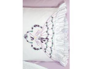 "Stamped Lace Edge Pillowcase 30""X20"" 2/Pkg-Somba Lady"
