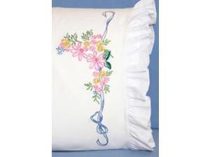 "Stamped Lace Edge Pillowcase 30""X20"" 2/Pkg-Ribbon & Flower"
