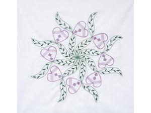 """Stamped Quilt Blocks 18""""X18"""" 6/Pkg-Violet Hearts"""
