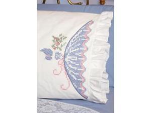 "Stamped Lace Edge Pillowcase 30""X20"" 2/Pkg-Cross Stitch Lady"