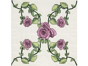 "Stamped Quilt Blocks 18""X18"" 6/Pkg-Rose Vine"