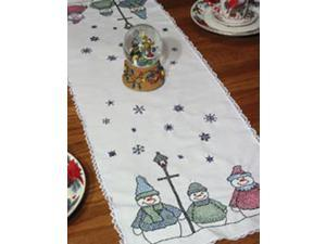 """Stamped Lace Edge Table Runner 15""""X42""""-Snowman"""
