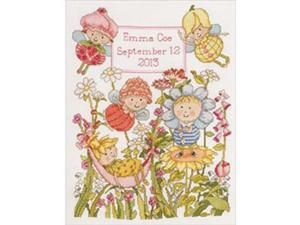 """Garden Fairies Birth Record Counted Cross Stitch Kit-10""""X13"""" 14 Count"""