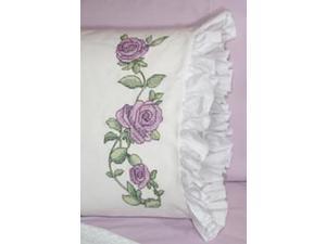 "Stamped Lace Edge Pillowcase 30""X20"" 2/Pkg-Rose Vine"