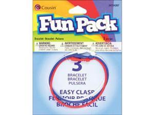 "Fun Pack Easy Clasp Bracelet 7"" 3/Pkg-#3 Red/White/Blue"