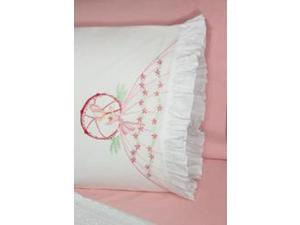 "Stamped Lace Edge Pillowcase 30""X20"" 2/Pkg-Umbrella Lady"