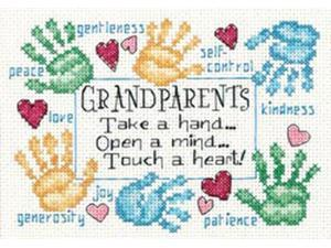 """Grandparents Touch A Heart Mini Counted Cross Stitch Kit-7""""X5"""""""