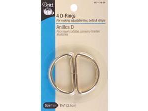 """Metal """"D"""" Rings 1-1/2"""" 4/Pkg-Gilt"""