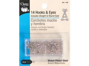 Hooks & Eyes Size 1 14/Pkg-Nickel