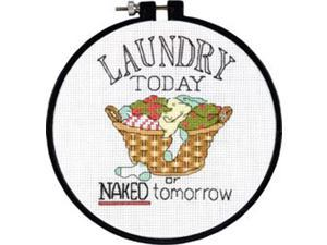 """Learn-A-Craft Laundry Today Counted Cross Stitch Kit-6"""" Round 14 Count"""
