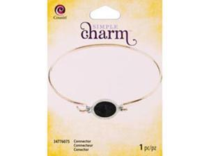 Simple Charm Connector 1/Pkg-Black Faceted Rhinestone Oval