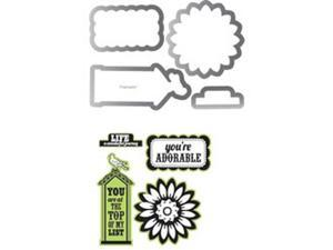 Sizzix Framelits Dies 4/Pkg With Clear Stamps By Echo Park-This & That&#59; Graceful