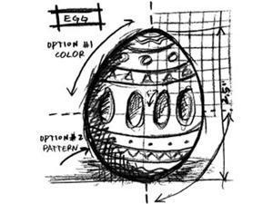 Tim Holtz Red Rubber Stamp-Egg Sketch