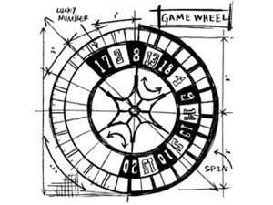 Tim Holtz Red Rubber Stamp-Game Wheel Sketch