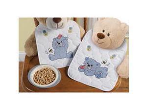 "Cute & Cuddly Bear Bib Pair Stamped Cross Stitch Kit-9""X14"" Set Of 2"