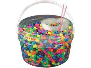 Kandi Kids Pony Bead Bucket Kit-Neon Multicolor
